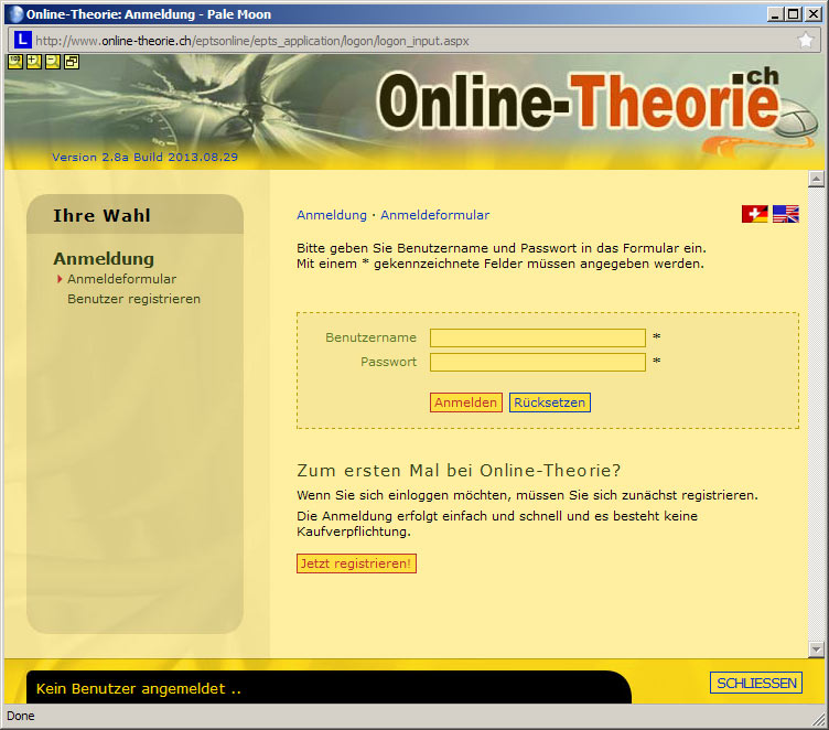 Screenshot von Online-Theorie, Version 2.8a